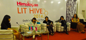 From left: Nikita Singh, Aastha Atray, myself, Jyoti Singh Viswanath and Reet Singh at a panel discussion at Delhi Lit Fest, 2014