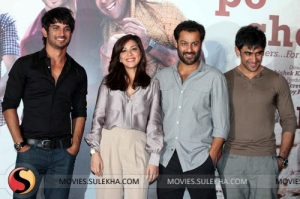 Director Abhishek Kapoor (third from left) with actors of Kai Po Che
