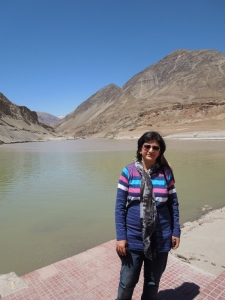 At the confluence of Indus and Zanskar Rivers